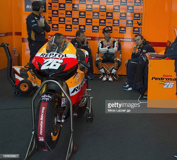 Dani Pedrosa of Spain and Repsol Honda Team looks on in box during the free practice of the MotoGP of Valencia at Ricardo Tormo Circuit on November 9...