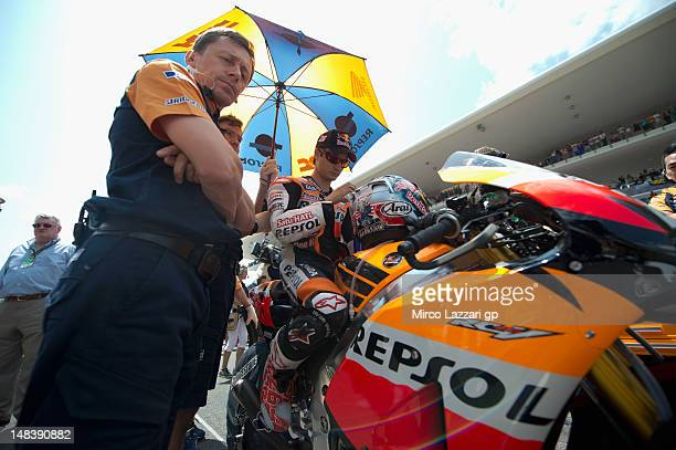 Dani Pedrosa of Spain and Repsol Honda Team prepares on the grid before the MotoGP of Italy at Mugello Circuit on July 15 2012 in Scarperia Italy