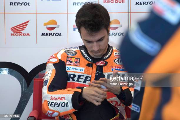 Dani Pedrosa of Spain and Repsol Honda Team prepares to start in box during the MotoGp Red Bull US Grand Prix of The Americas Free Practice at...