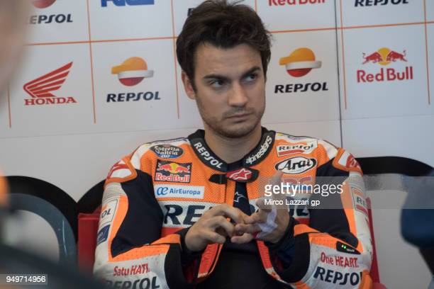 Dani Pedrosa of Spain and Repsol Honda Team prepares to start in box during the MotoGP qualifying practice during the MotoGp Red Bull US Grand Prix...