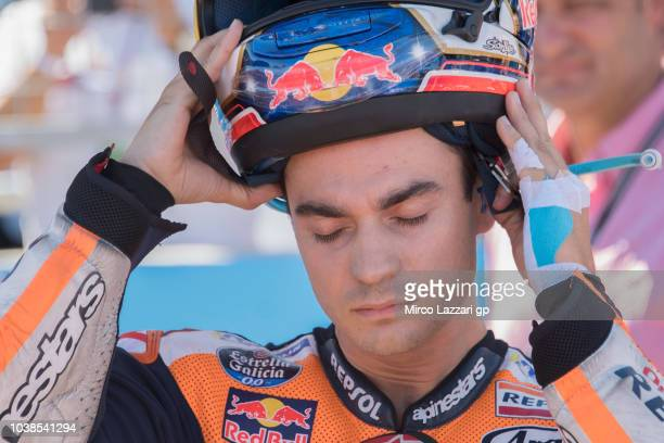 Dani Pedrosa of Spain and Repsol Honda Team prepares to start on the grid during the MotoGP race during the MotoGP of Aragon Race at Motorland Aragon...