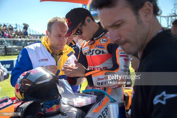 Dani Pedrosa of Spain and Repsol Honda Team prepares to start on the grid during the MotoGP race during the MotoGP of Australia Race during the 2018...