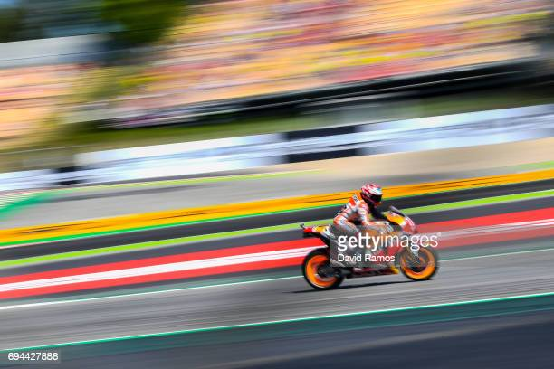 Dani Pedrosa of Spain and Repsol Honda Team rides during a free practice ahead of qualifying at Circuit de Catalunya on June 10 2017 in Montmelo Spain