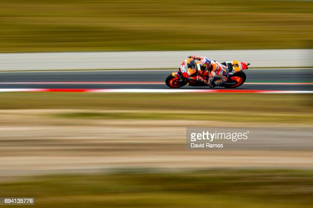 Dani Pedrosa of Spain and Repsol Honda Team rides during free practice for the MotoGP of Catalunya at Circuit de Catalunya on June 9 2017 in Montmelo...