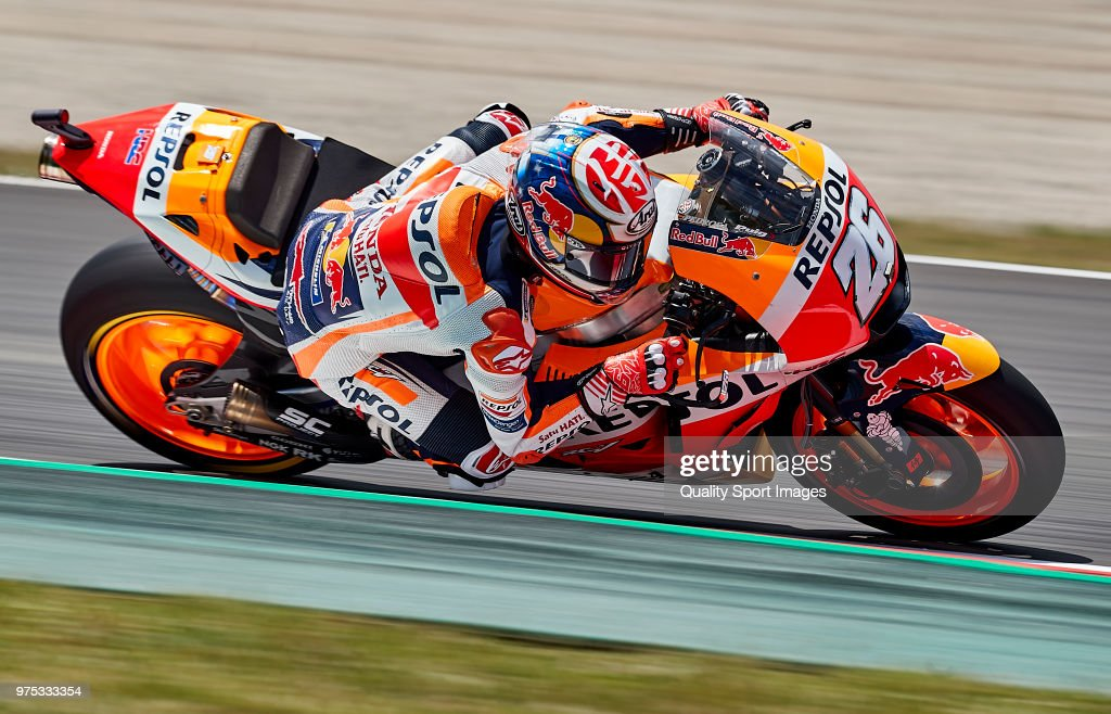 Dani Pedrosa of Spain and Repsol Honda Team rides during free practice for the MotoGP of Catalunya at Circuit de Catalunya on June 15, 2018 in Montmelo, Spain.