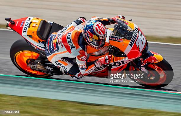 Dani Pedrosa of Spain and Repsol Honda Team rides during free practice for the MotoGP of Catalunya at Circuit de Catalunya on June 15 2018 in...