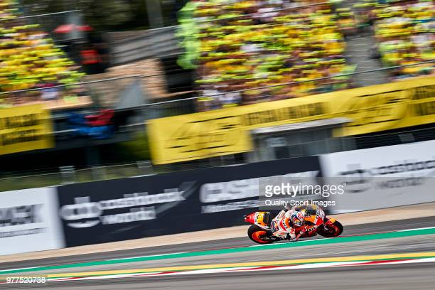 Dani Pedrosa of Spain and Repsol Honda Team rides during MotoGP race of Catalunya at Circuit de Catalunya on June 17 2018 in Montmelo Spain