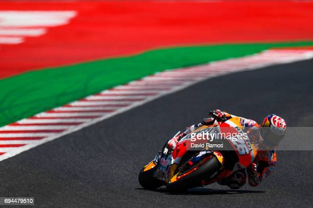 Dani Pedrosa of Spain and Repsol Honda Team rides during the qualifying at Circuit de Catalunya on June 10 2017 in Montmelo Spain