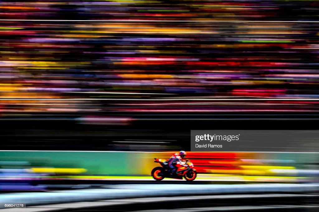 Dani Pedrosa of Spain and Repsol Honda Team rides during the MotoGp of Catalunya at Circuit de Catalunya on June 11, 2017 in Montmelo, Spain.