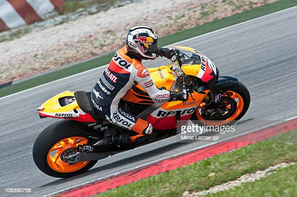 Dani Pedrosa of Spain and Repsol Honda Team rounds the bend during the third day of testing at Sepang Circuit on February 24 2011 in Kuala Lumpur...