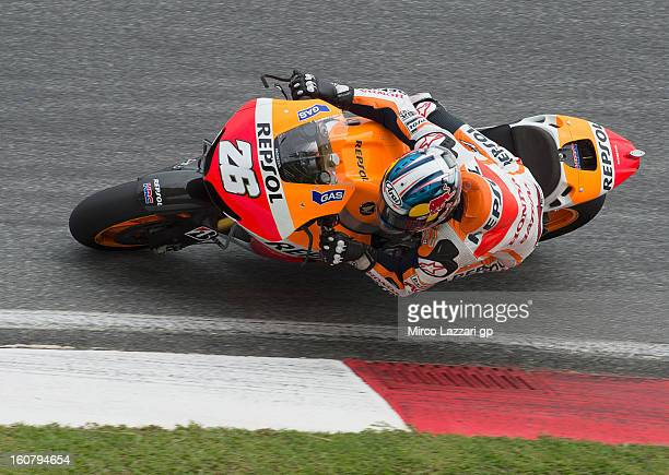 Dani Pedrosa of Spain and Repsol Honda Team rounds the bend during the MotoGP Tests in Sepang Day Four at Sepang Circuit on February 6 2013 in Kuala...