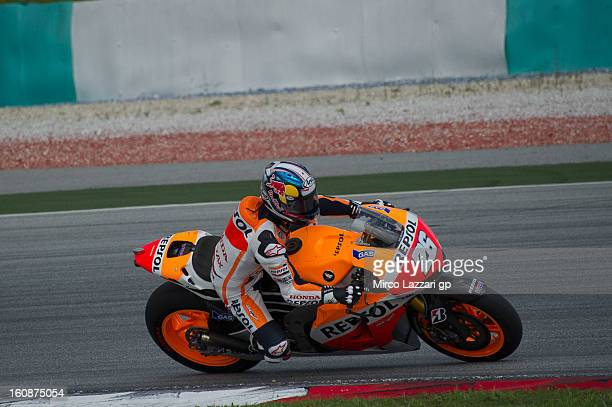 Dani Pedrosa of Spain and Repsol Honda Team rounds the bend during the MotoGP Tests in Sepang Day Five at Sepang Circuit on February 7 2013 in Kuala...