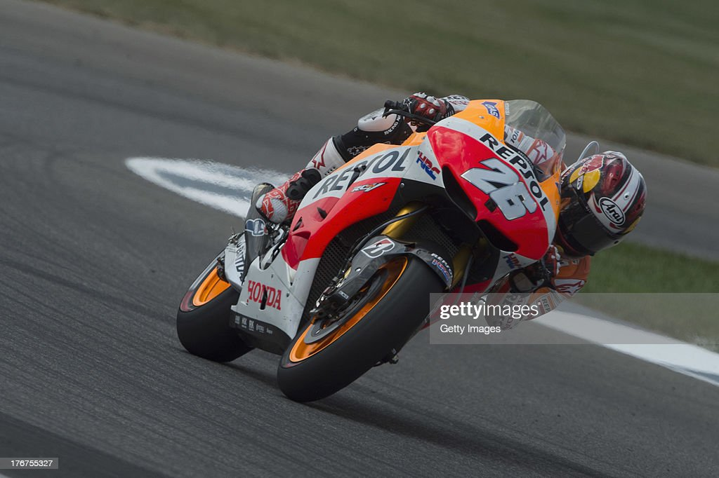 Dani Pedrosa of Spain and Repsol Honda Team rounds the bend during the MotoGP race during the MotoGp Red Bull U.S. Indianapolis Grand Prix - Race at Indianapolis Motor Speedway on August 18, 2013 in Indianapolis, Indiana.
