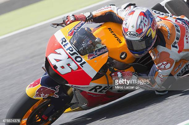 Dani Pedrosa of Spain and Repsol Honda Team rounds the bend during the Michelin tires test during the MotoGp Tests At Mugello at Mugello Circuit on...