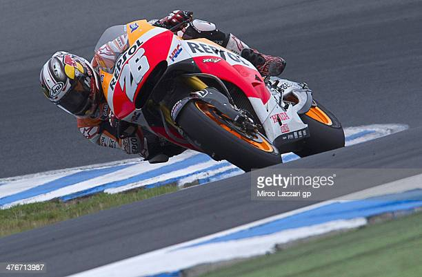 Dani Pedrosa of Spain and Repsol Honda Team rounds the bend during the MotoGP Tests in Phillip Island Day Three at Phillip Island Grand Prix Circuit...