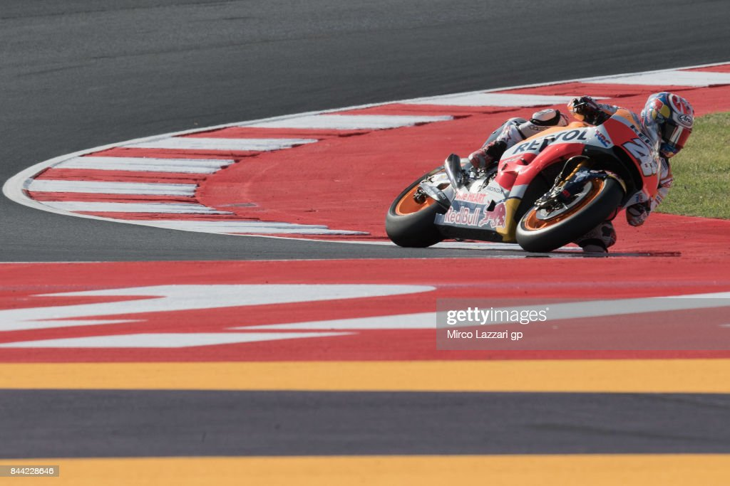 Dani Pedrosa of Spain and Repsol Honda Team rounds the bend during the MotoGP of San Marino - Free Practice at Misano World Circuit on September 8, 2017 in Misano Adriatico, Italy.