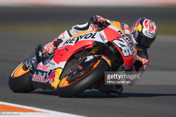 Dani Pedrosa of Spain and Repsol Honda Team rounds the bend during the qualifying practice during the Comunitat Valenciana Grand Prix Moto GP...