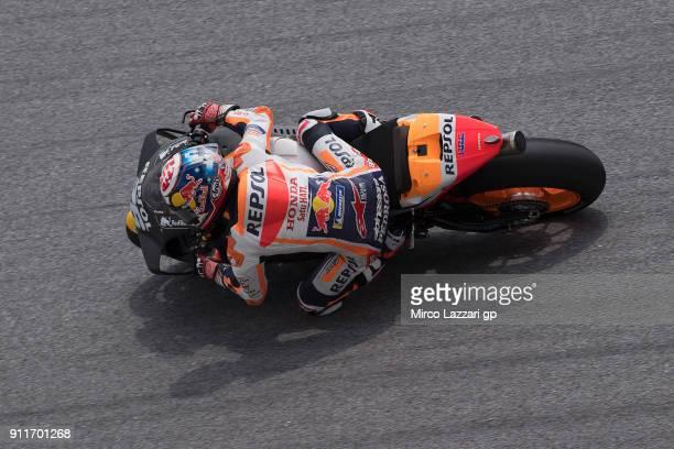 Dani Pedrosa of Spain and Repsol Honda Team rounds the bend during the MotoGP Tests In Sepang at Sepang Circuit on January 29 2018 in Kuala Lumpur...