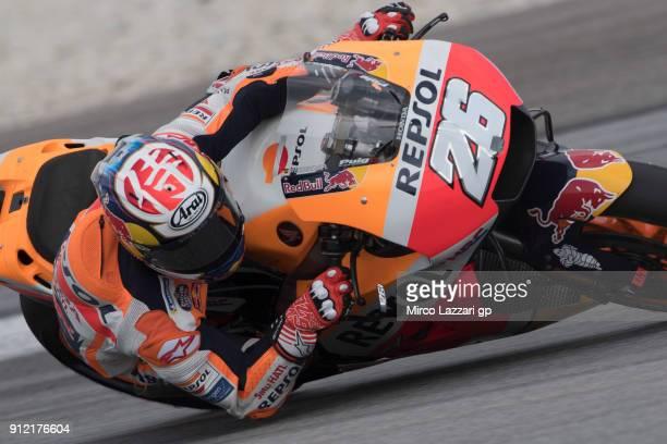 Dani Pedrosa of Spain and Repsol Honda Team rounds the bend during the MotoGP test in Sepang at Sepang Circuit on January 30 2018 in Kuala Lumpur...