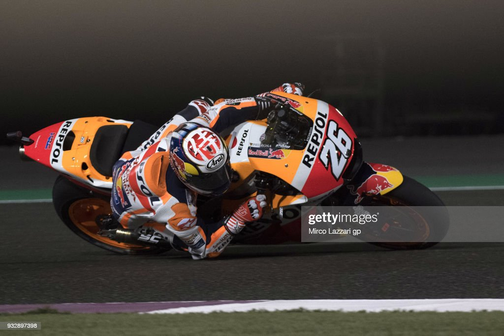 Dani Pedrosa of Spain and Repsol Honda Team rounds the bend during the MotoGP of Qatar - Free Practice at Losail Circuit on March 16, 2018 in Doha, Qatar.