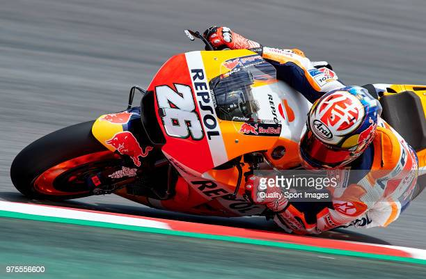 Dani Pedrosa of Spain and Repsol Honda Team rounds the bend during free practice for the MotoGP of Catalunya at Circuit de Catalunya on June 15 2018...