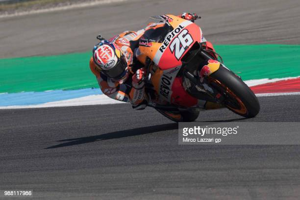 Dani Pedrosa of Spain and Repsol Honda Team rounds the bend during the Qualifying practice during the MotoGP Netherlands Qualifying on June 30 2018...