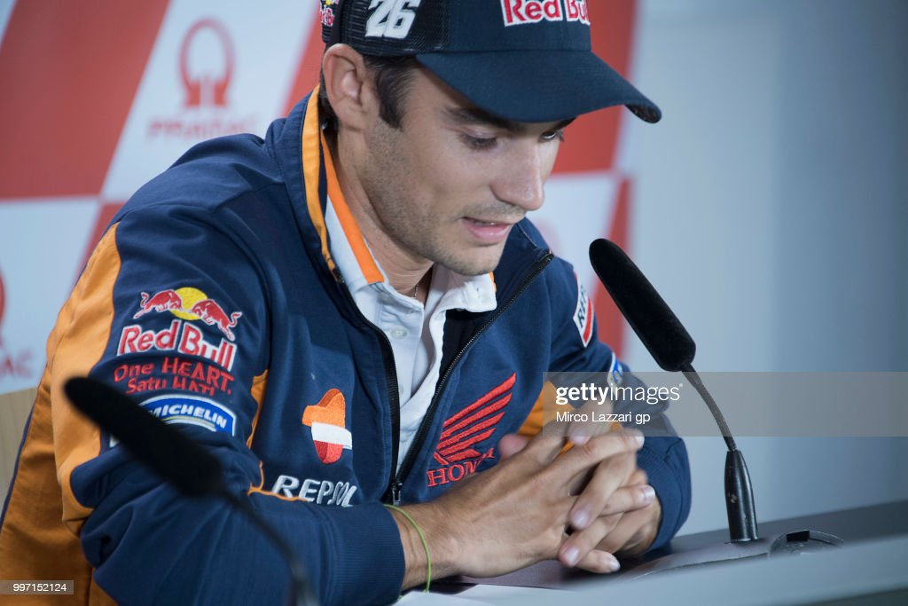 Dani Pedrosa of Spain and Repsol Honda Team speaks during the press conference in order to announce his retired during the MotoGp of Germany - Previews at Sachsenring Circuit on July 12, 2018 in Hohenstein-Ernstthal, Germany.