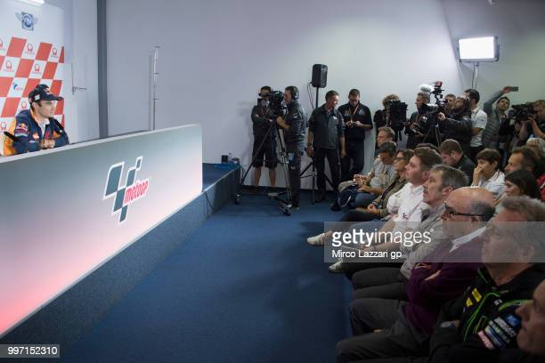 Dani Pedrosa of Spain and Repsol Honda Team speaks during the press conference in order to announce his retired during the MotoGp of Germany Previews...