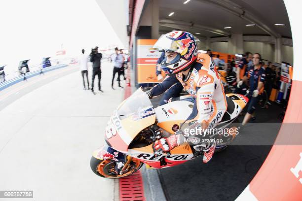 Dani Pedrosa of Spain and Repsol Honda Team starts from box during the MotoGp of Argentina Qualifying on April 8 2017 in Rio Hondo Argentina