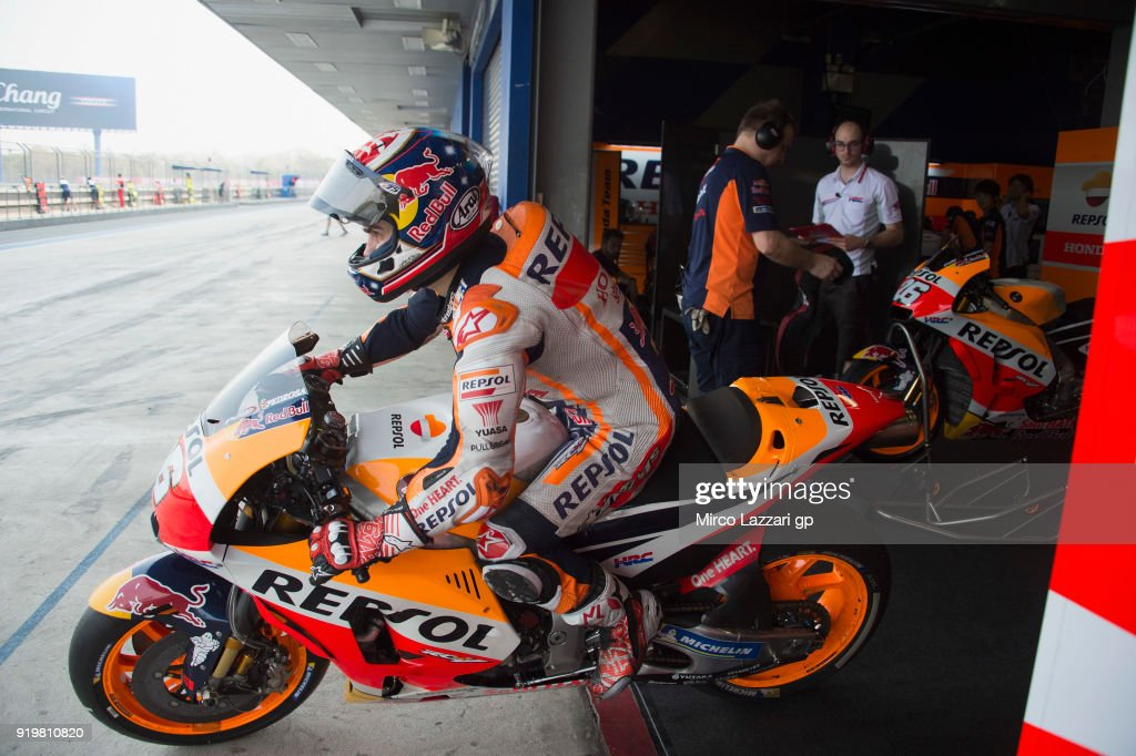 Dani Pedrosa of Spain and Repsol Honda Team starts from box during the MotoGP Tests In Thailand on February 18, 2018 in Buri Ram, Thailand.