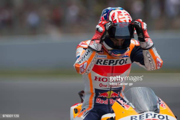 Dani Pedrosa of Spain and Repsol Honda Team starts from box during the qualifying practice during the MotoGp of Catalunya Qualifying at Circuit de...