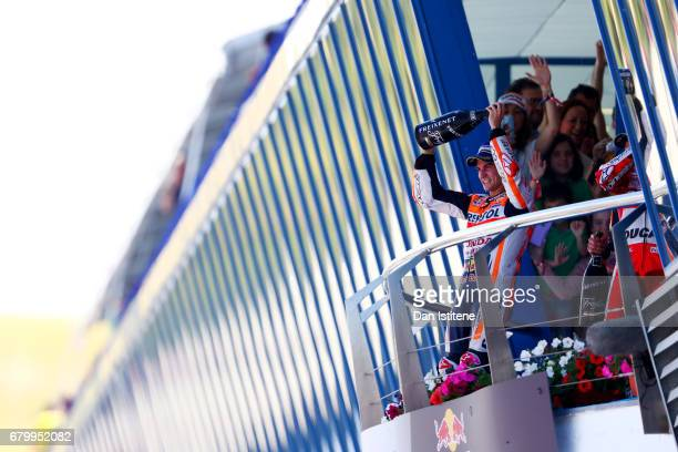 Dani Pedrosa of Spain and the Repsol Honda Team celebrates on the podium after winning the MotoGP of Spain at Circuito de Jerez on May 7 2017 in...