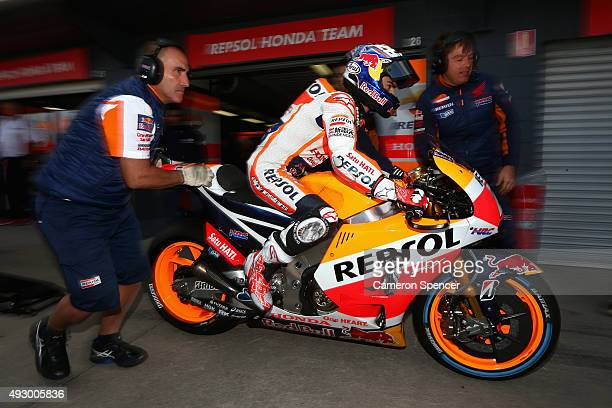 Dani Pedrosa of Spain and the Repsol Honda team heads out onto the track from pit lane during free practice for the 2015 MotoGP of Australia at...
