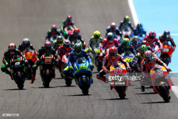 Dani Pedrosa of Spain and the Repsol Honda Team leads the field ahead of Marc Marquez of Spain and the Repsol Honda Team during the MotoGP of Spain...