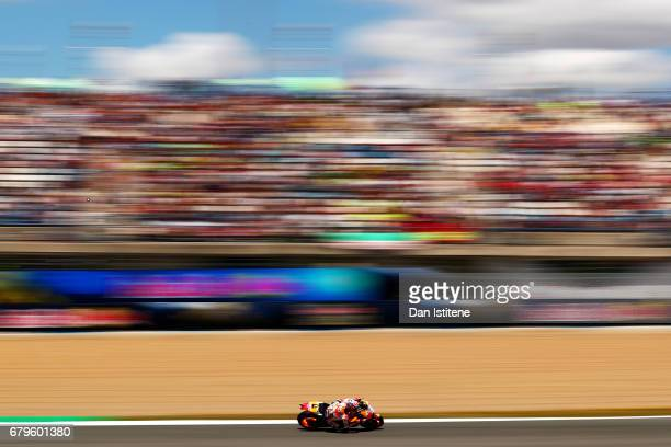 Dani Pedrosa of Spain and the Repsol Honda Team rides during qualifying for the MotoGP of Spain at Circuito de Jerez on May 6 2017 in Jerez de la...