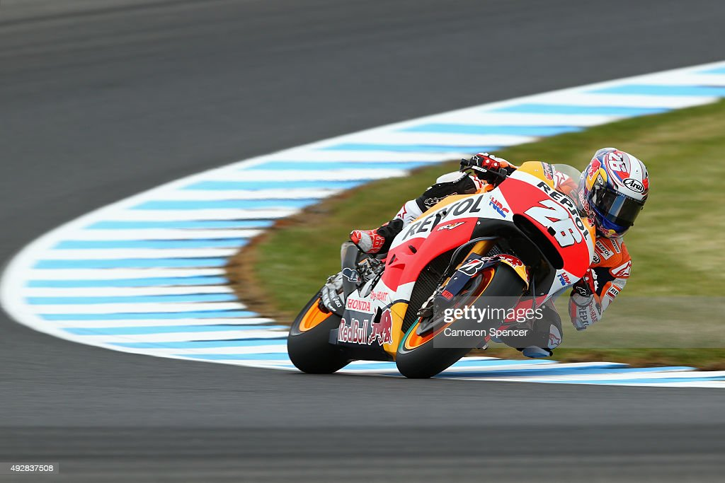 Dani Pedrosa of Spain and the Repsol Honda team rides during free practice for the 2015 MotoGP of Australia at Phillip Island Grand Prix Circuit on October 16, 2015 in Phillip Island, Australia.