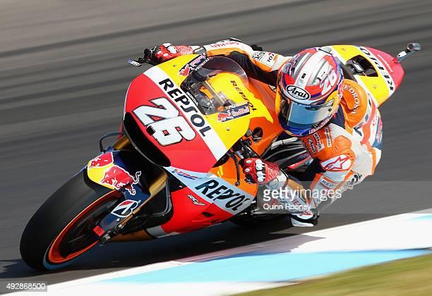 Dani Pedrosa of Spain and the Repsol Honda team rides during free practice for the 2015 MotoGP of Australia at Phillip Island Grand Prix Circuit on...