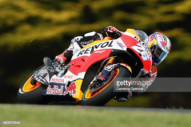 Dani Pedrosa of Spain and the Repsol Honda team rides during free practice for the 2015 MotoGP of Australia at Phillip Island Grand Prix Circuit on...