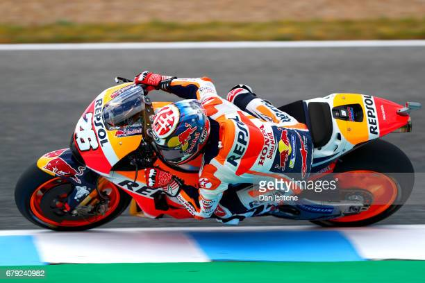 Dani Pedrosa of Spain and the Repsol Honda Team rides during free practice for the MotoGP of Spain at Circuito de Jerez on May 5 2017 in Jerez de la...