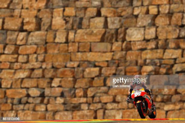 Dani Pedrosa of Spain and the Repsol Honda Team rides during practice for the MotoGP of Aragon at Motorland Aragon Circuit on September 22 2017 in...