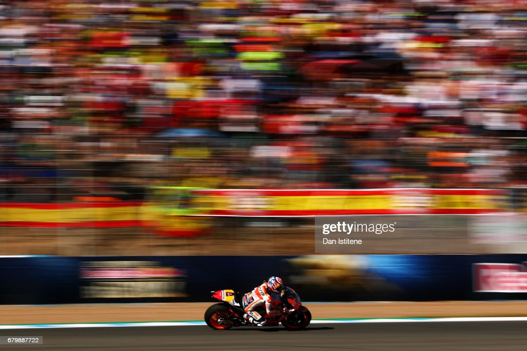 Dani Pedrosa of Spain and the Repsol Honda Team rides during warm-up for the MotoGP of Spain at Circuito de Jerez on May 7, 2017 in Jerez de la Frontera, Spain.