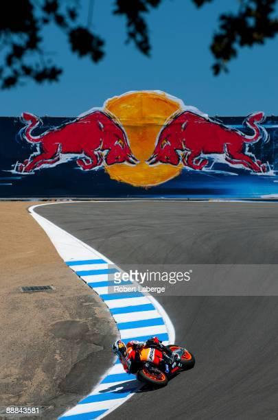 Dani Pedrosa of Spain rider of the Repsol Honda during the Moto GP Red Bull U S Grand Prix at the Mazda Raceway Laguna Seca on July 5 2009 in...