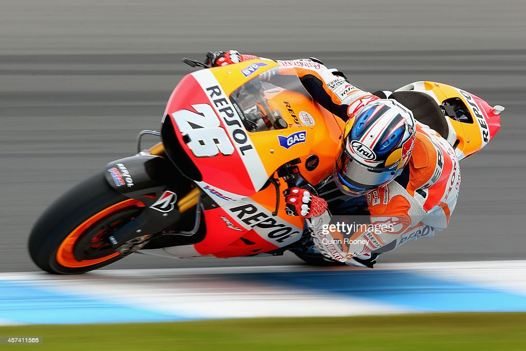 Dani Pedrosa of Spain rides the #26 Repsol Honda Team Honda during qualifying for the 2014 MotoGP of Australia at Phillip Island Grand Prix Circuit on October 18, 2014 in Phillip Island, Australia.