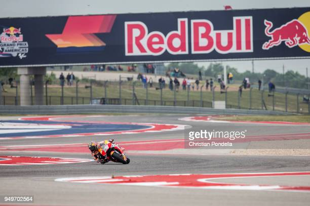 Dani Pedrosa of Spain rounds the bend during the MotoGP Red Bull US Grand Prix of The Americas Free Practice 3 at Circuit of The Americas on April 21...