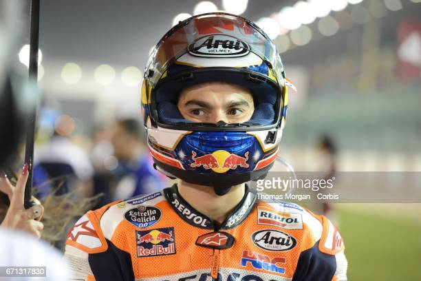 Dani Pedrosa who rides Honda for Repsol Honda waiting on the start grid during the Grand Prix of Qatar at the Losail International Circuit north of...