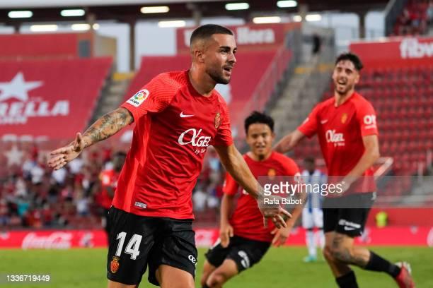 Dani Rodrigez of RCD Mallorca celebrates after scoring his team's first goal during the La Liga Santander match between RCD Mallorca and RCD Espanyol...