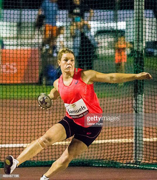 Dani Samuels competes in the womens Discus during the Queensland Track Classic on March 7 2015 in Brisbane Australia