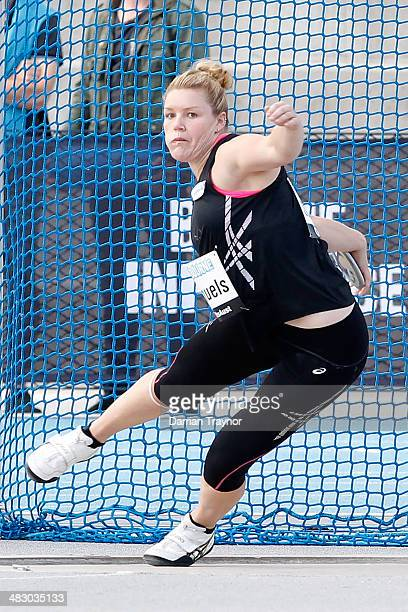 Dani Samuels competes in the womens's discus during the 92nd Australian Athletics Championships on April 6 2014 in Melbourne Australia