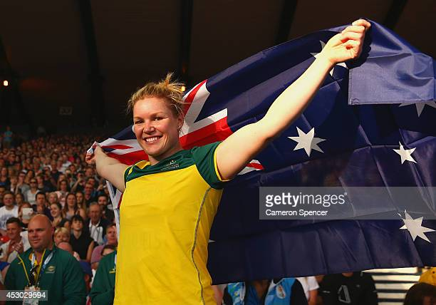 Dani Samuels of Australia celebrates winning gold in the Women's Discus at Hampden Park during day nine of the Glasgow 2014 Commonwealth Games on...