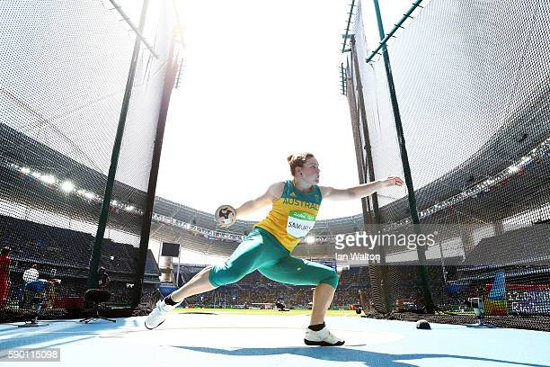 Dani Samuels of Australia competes during the Women's Discus Throw Final on Day 11 of the Rio 2016 Olympic Games at the Olympic Stadium on August 16...